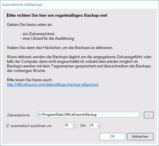Backup einstellen