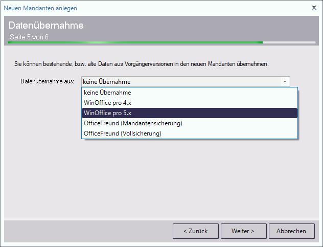 Datenübernahme aus bits&paper WinOffice pro
